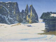 Wimpelkette - Farbholzschnitt - Karl Pferschy (Deutschlandsberg 1888 - Bozen 1930), Schlern im Winter