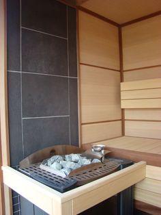 stone/tile and timber sauna Modern Saunas, Portable Steam Sauna, Sauna Ideas, Sauna Design, Finnish Sauna, Sauna Room, Spa Rooms, Wood Stoves, Hearth And Home