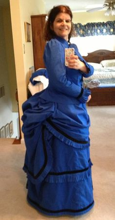 """""""Here it is! I'm so excited. Not perfect but I feel so accomplished!! Thank you Jennifer, you are the best!!"""" Blue dress made by Caro in the online Bustle Day Dress class at HistoricalSewing.com."""