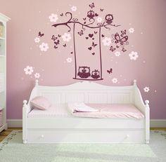 Wandtattoos - Wandtattoo Eulen Schaukel Eule Baum Blüten M1024 - ein Designerstück von IlkaParey bei DaWanda