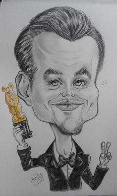 Caricatura Sketch di Leonardo di Caprio. Matita su carta ruvida by Muriel Perondi