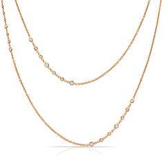 Jade Trau Forevermark Rose Gold Stiletto Station Necklace