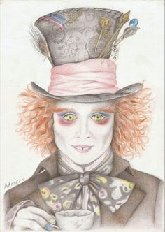 #we #are #all #mad #here #alice#in#wonderland #madhatter #crazy #hutmacher #jonnhydepp #redhair #art #colourpencils