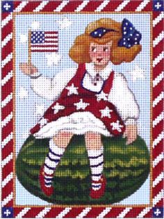 Melissa Shirley Designs | Hand Painted Needlepoint | Fourth Of July Kids: Watermelon Girl