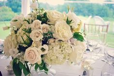 Gray and ivory #weddingflowers - romantic and elegant #granddesign #flowers