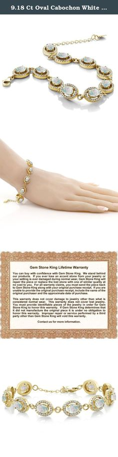 9.18 Ct Oval Cabochon White Simulated Opal 18K Yellow Gold Plated Silver Bracelet. Beautiful and brilliant pair our Opal bracelet with career or weekend outfits. Featuring a radiant flawless 925 Yellow Gold Plated Silver finish. This item is perfect for any event and holiday. The secure fit promises carefree wear and stability, while the appearance ensures that this bracelet will be the center of attention on any ensemble. As always with all of our products this item comes in packaging...