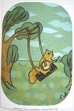 Squirrel Banjo Art Print