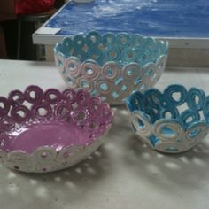 Ceramic Set, coil constructed bowls.