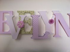 Alphabet wooden letters for nursery in pink white by SummerOlivias, $16.00