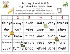 Reading Street Unit 3 Sight Word 4-in-a-row