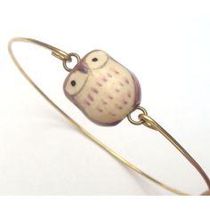 Brass Porcelain Owl  Bracelet.