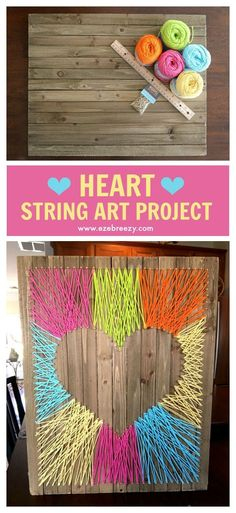 and Easy String Art Craft Easy, Fun and Colorful Heart String Art Craft that adds the perfect pop of color to any wall.Easy, Fun and Colorful Heart String Art Craft that adds the perfect pop of color to any wall. Cute Crafts, Crafts To Do, Creative Crafts, Easy Crafts, Arts And Crafts, Crafts That Sell, Yarn Crafts Kids, Handmade Crafts, Mason Jar Crafts