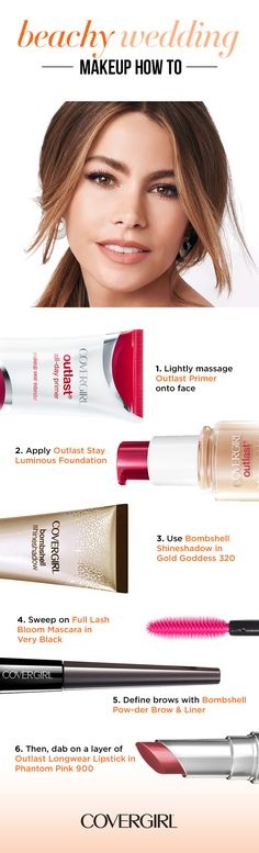 """Follow this step-by-step guide to be achy wedding beauty. use COVERGIRL'S Bombshell Shine Shadow in Gold Goddess and make lashes bloom with Full Lash Bloom Waterproof Mascara. Define your brows with Bombshell Pow-der Brow & Liner, then say """"I do"""" to Outlast Longwear Lipstick in Phantom Pink."""