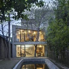 Tree climbs up through triangular concrete balcony of a Tea House in Shanghai, China. Designed by Archi-Union.