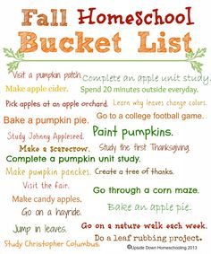 Fun Fall Activities {Weekend Links} Homeschool Fall Bucket List {Free Printable} - {Fall Weekend Links} from Homeschool Kindergarten, Preschool At Home, Online Homeschooling, Preschool Lessons, Preschool Schedule, Free Homeschool Curriculum, Kindergarten Curriculum, Weekender, Fun Fall Activities