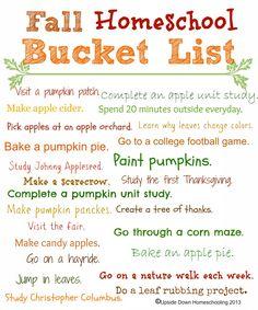 Homeschool Fall Bucket List {with printable list} - Frugal Homeschool Family