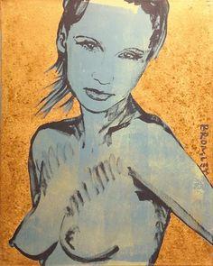 "DAVID BROMLEY Nude ""Romy"" Polymer & Gold Leaf on Canvas 76cm x 61cm"