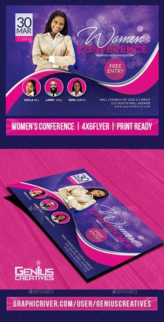 Buy Women's Conference or Event Flyer by GeniusCreatives on GraphicRiver. Women's Conference or event flyer Perfect for an all women Event or Conference, This Flyer is another great additi. Graphic Design Flyer, Flyer Design, Web Layout, Layout Design, Event Flyer Templates, Event Flyers, Conference, Header, Design Inspiration