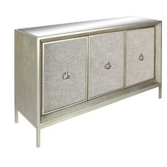 Accent Furniture Wood/Mirror/Fabric Cabinet by UMA Enterprises, Inc. at Wayside Furniture Mirror Cabinets, Wood Cabinets, Cabinet Doors, Console Cabinet, Wood Mirror, Mirror Door, Accent Furniture, Wood Furniture, Metallic Furniture