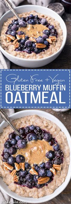 This simple Blueberry Muffin Oatmeal is sweetened with a banana, spiced with cinnamon and topped with an easy blueberry compote! Top with all your favorite toppings for a delicious, healthy + filling (Flourless Muffin Banana) Healthy Filling Breakfast, Vegan Breakfast Recipes, Good Healthy Recipes, Best Breakfast, Vegan Recipes, Breakfast Muffins, Healthy Food, Healthy Eating, Breakfast Ideas