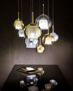 PENTA LIGHT - GLO - Chandelier with chromed metal structure and borosilicate glass Designed by Carlo Colombo