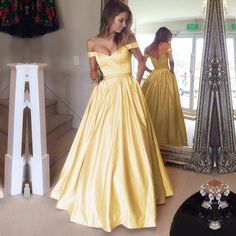 the off shoulder style make this gold satin ball gowns so elegant,perfect as prom dress,evening gowns,bridesmaid dresses,love it!