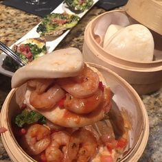 Dim-Sum Style Slider Buns.. In the back, Rockefeller Style Oysters.