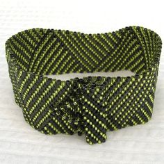 Chartreuse with Grey Log Cabin Braid Peyote Cuff by SandFibers
