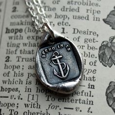 Anchor Wax Seal Necklace - I have hope in you - antique Italian wax seal jewelry pendant in fine silver Anchor jewelry. $48.00, via Etsy.