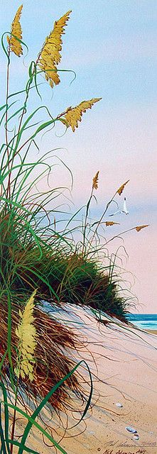 """These are not literally """"Flowers,"""" but lovely, growin' seeds(?) from my early years that I love! [""""Sea Oats"""" by Neil Adamson, Watercolor]"""
