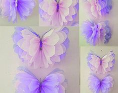 """Four 14"""" girls birthday party decorations tissue paper wall butterflys  bedroom wedding sweet 16 baby shower wall hangings"""