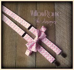 Boys Pink Chevron Bow Tie and Suspenders  por WillowRayneDesigns, $32.95