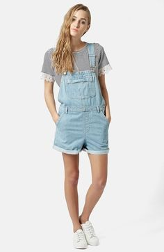 Topshop Moto Short Overalls (Light Denim) | Nordstrom