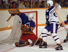 Action Photo: Laurie Boschman Goes Hard to the Net Hockey Goalie, Hockey Games, Toronto Photography, Goalie Mask, New Jersey Devils, Vancouver Canucks, Nfl Fans, Colorado Rockies, Toronto Maple Leafs