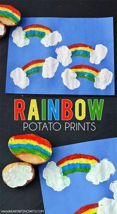 Rainbow Potato Printing- fun!