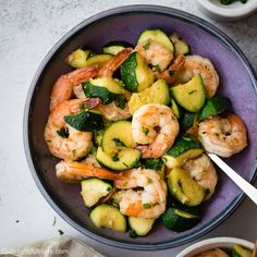 This sautéed shrimp with zucchini showcases natural sweetness of shrimps and zucchini. The addition of garlic and lemon juice makes the dish flavorful and delicious. It is a quick and easy one-pan meal for busy days. healthy Sautéed Shrimp with Zucchini Seafood Recipes, Gourmet Recipes, Cooking Recipes, Healthy Recipes, Whole30 Shrimp Recipes, Shrimp Salad Recipes, Dinner Recipes, Clean Eating Snacks, Healthy Eating