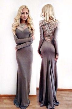 Modest prom dress, ball gown, cute grey chiffon mermaid dress with sleeves