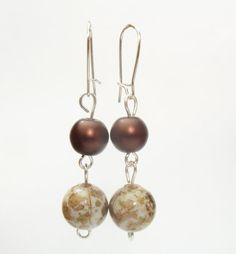 Bronze and Gold Round Bead Earrings Matte by TheRaspberryBasket