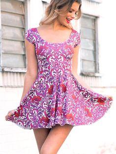 Bouquet Nouveau Cap Sleeve Skater Dress #42
