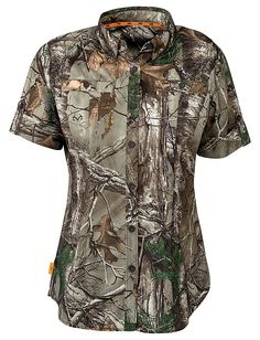 SHE® Outdoor Element Shirt for Ladies - Short Sleeve   Bass Pro Shops // The Element Shirt for ladies from SHE Outdoor is built from a durable yet flexible 95% poly/5% Spandex fabric for maximum comfort in warm weather spring or fall hunts #SHEhunts #SHEoutdoor #womenshuntinggear #womenscamo #camoshirt