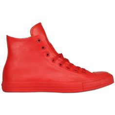 CONVERSE Chuck Taylor Rubber High Top Sneakers - Red (€55) ❤ liked on Polyvore featuring shoes, sneakers, red, red trainers, hi tops, rubber shoes, converse sneakers and red high-top sneakers