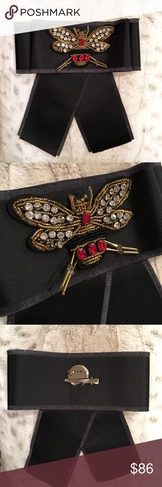 Black Bow Tie Brooch New - Gorgeous bow tie brooch/pin accessory with bee detail - This gorgeous piece will make any outfit stand out. Can be used in many different ways: as bow tie, pin, hair or on your hat. Approx measurement: bow width 7 inch - bow height 8 inches. *All sales are Final* n/a Accessories