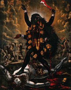 Kali standing triumphantly over Shiva's corpse