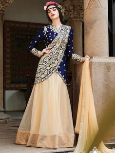 Blue with beige Party Wear Embroidered Anarkali Suit