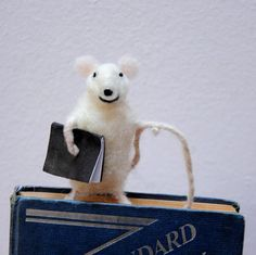 Bookmark Felt miniature mouse bookmark Sweet by Morenafelting