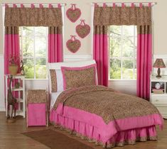 Cheetah Girl Pink And Brown Teen Bedding 3pc Full Queen Set By Sweet Jojo Designs