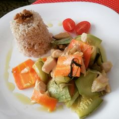 Vegetables chicken with ginger..