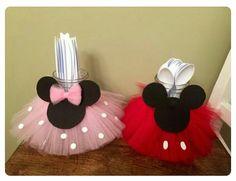 Porta cubiertos Mickey y Minnie