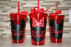 Mickey Mouse or Minnie Mouse 16 ounce double walled tumbler. Maybe do this just for the kids Kylie Birthday, Mickey Mouse Birthday, Mickey Party, Minnie Mouse Gifts, Mouse Crafts, Mickey Mouse Clubhouse, Birthday Party Decorations, Consideration, Cricut
