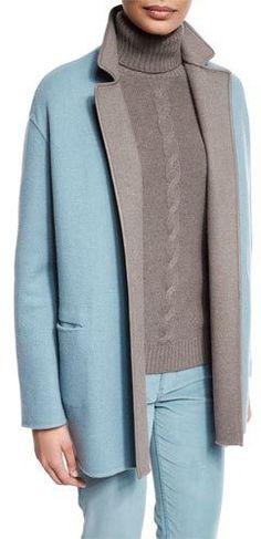 Loro Piana Jimi Open-Front Reversible Coat, Pearl Blue/Silver Myrtle